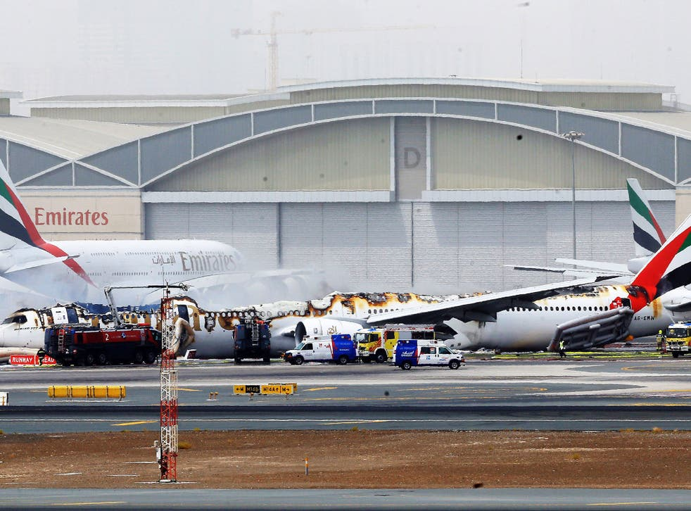 The Emirates plane burst into flames after a crash-landing with 300 peopleon board