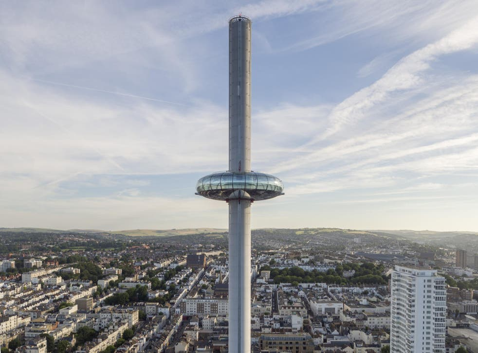 Passengers can walk around the circumference of the i360's glass doughnut in the sky