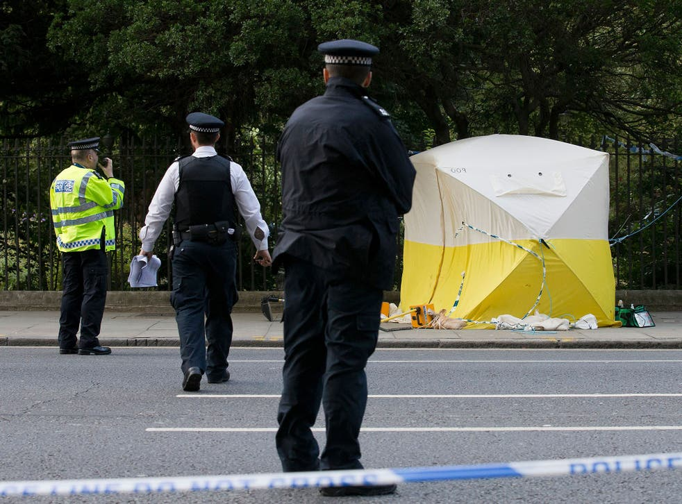 Police at the scene of a stabbing attack in Russell Square in central London on August 4, 2016