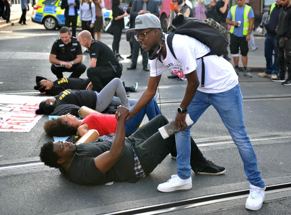 Black Lives Matter activists pictured in a day of protests in Nottingham
