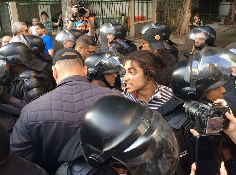 Police arrest man protesting outside of Maracanã Stadium <em>Reuters</em>