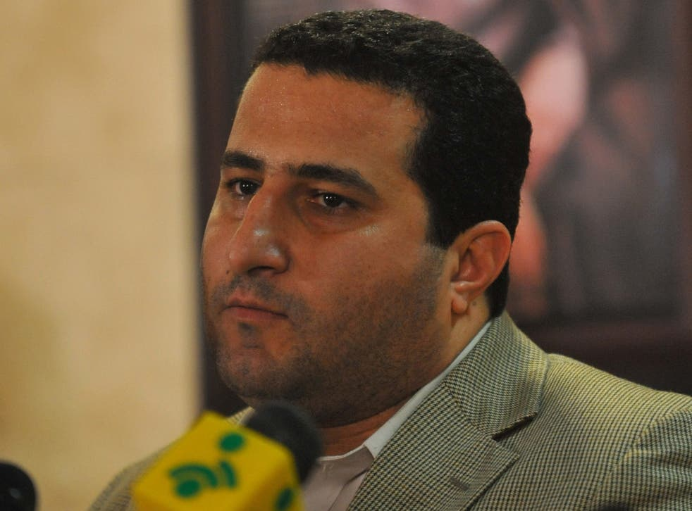Shahram Amiri during a press conference after arriving back to Tehran in 2010