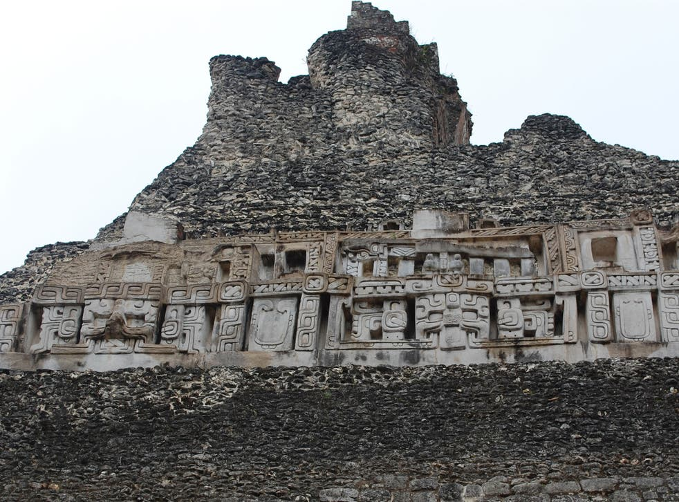 Carvings on a pyramid at Xunantunich, Belize. A royal tomb thought to belong to the 'snake dynasty' has been found in the ancient city