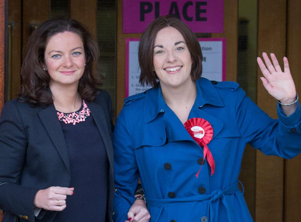 Kezia Dugdale and her partner Louise Riddell vote in Scottish parliament elections in May
