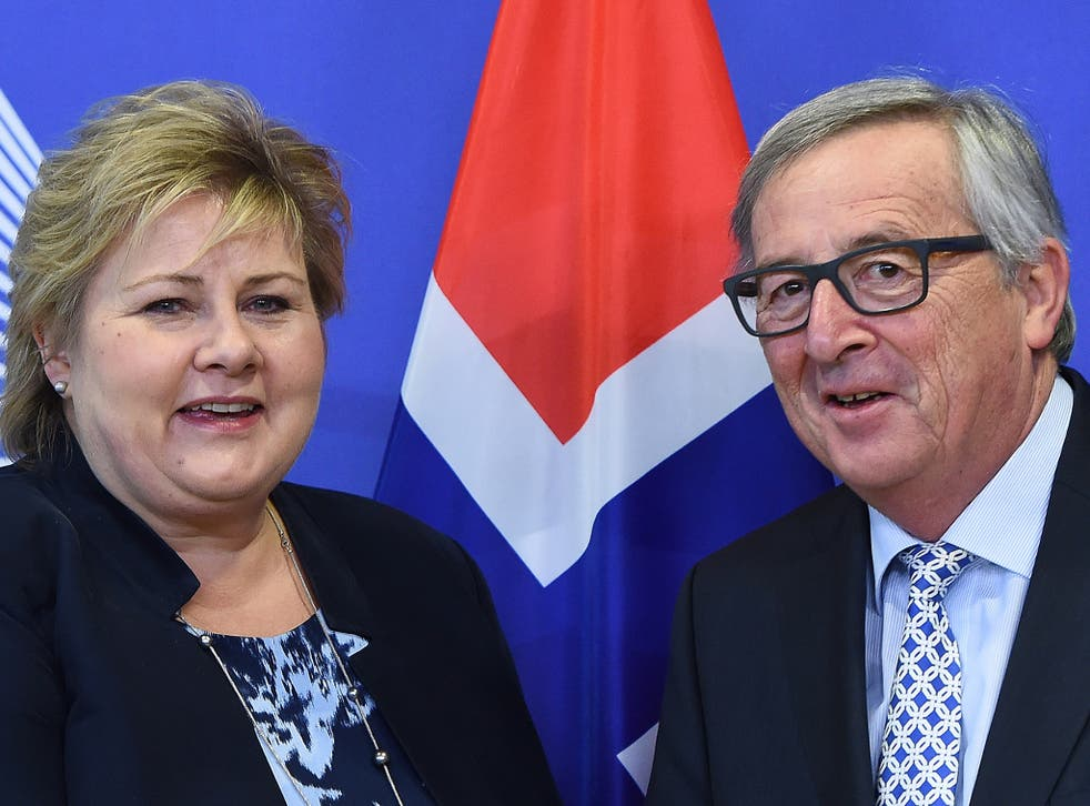 Norway's Prime Minister Erna Solberg and European Commission President Jean-Claude von Juncker
