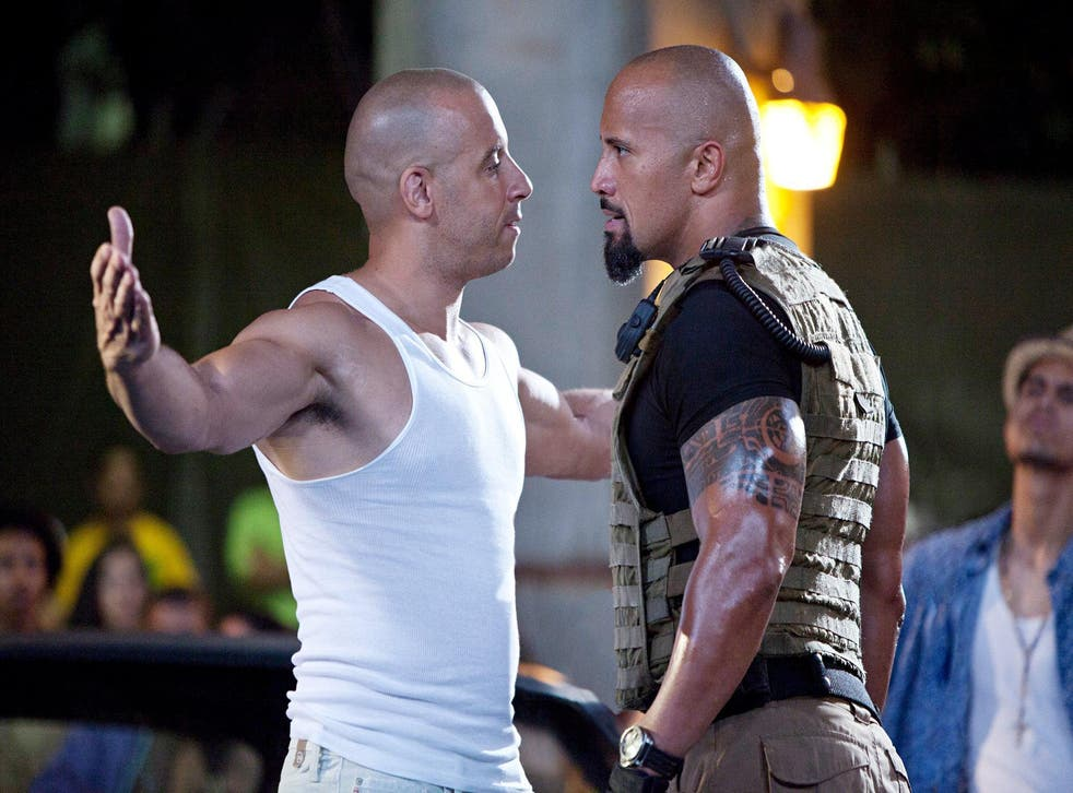 """Vin Diesel and Dwayne """"The Rock"""" Johnson in Fast Five"""