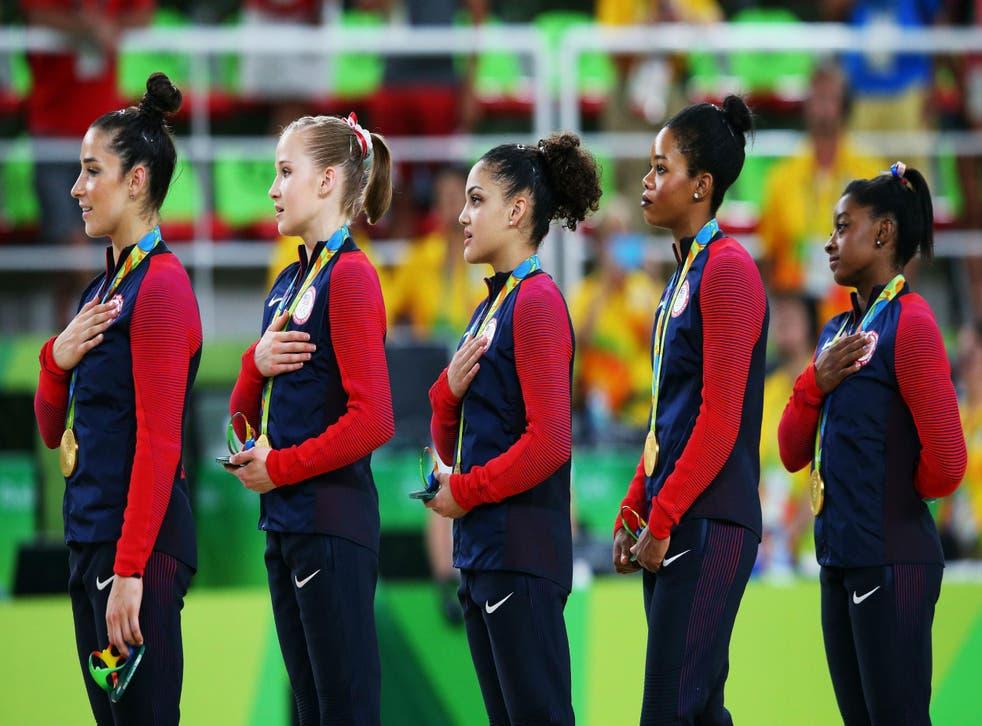 The USA gymnastics team after receiving their gold medals