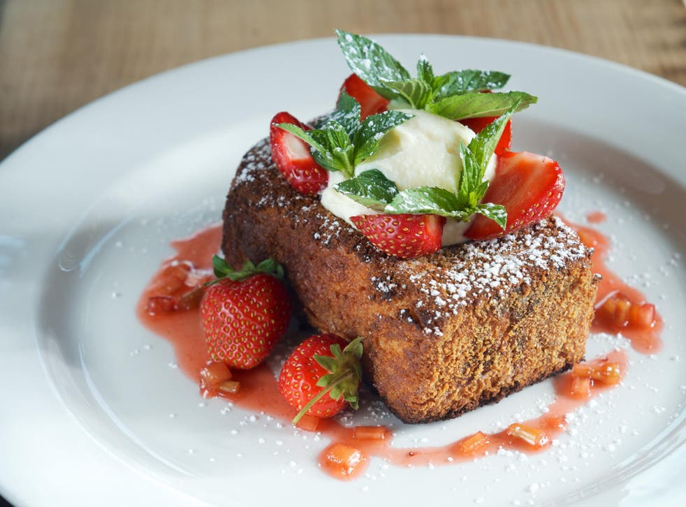 French toast, Boston-style: Graham cracker crusted challah with Amaretto Chantilly and toasted almonds