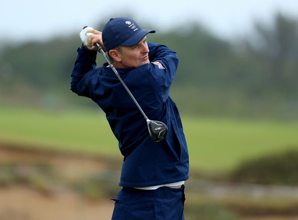 Justin Rose in action on the Olympic course in Rio