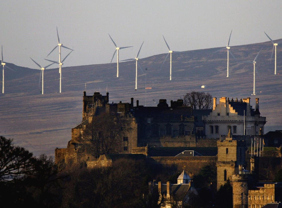 The wind turbines outside Stirling Castle