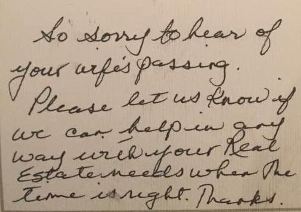 Estate Agents Condemned For Sending Sympathy Card To Widower