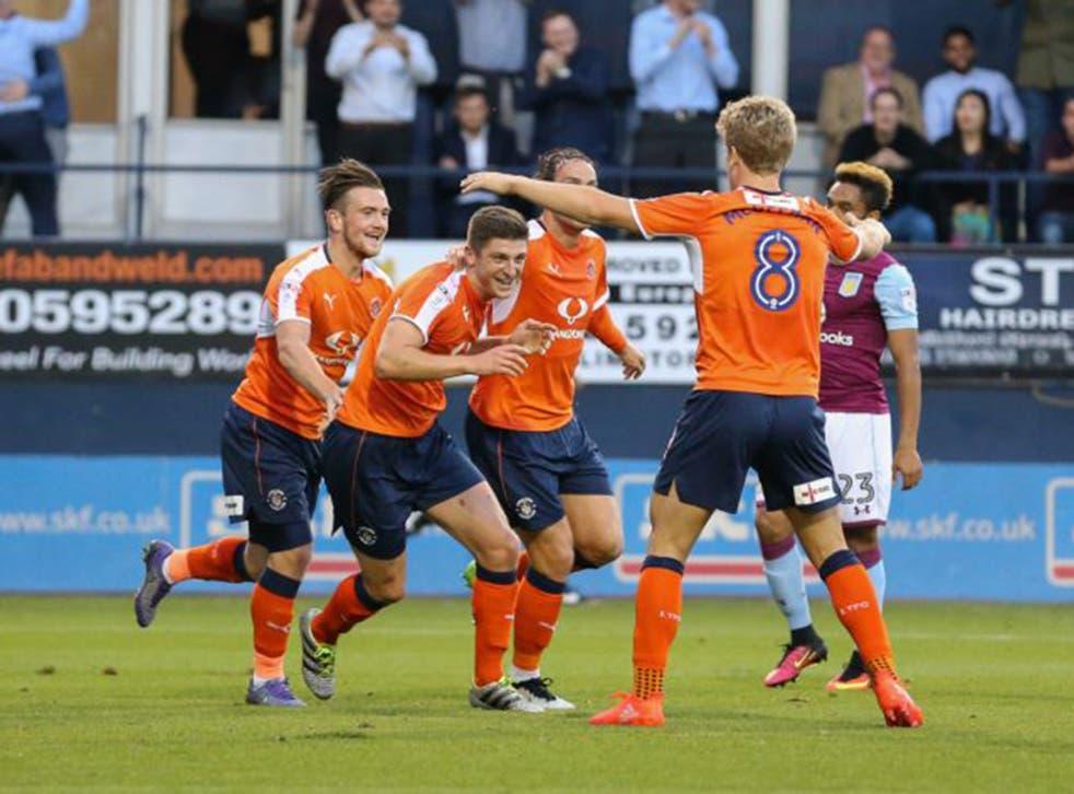 Jake Gray celebrates after scoring for Luton against Aston Villa