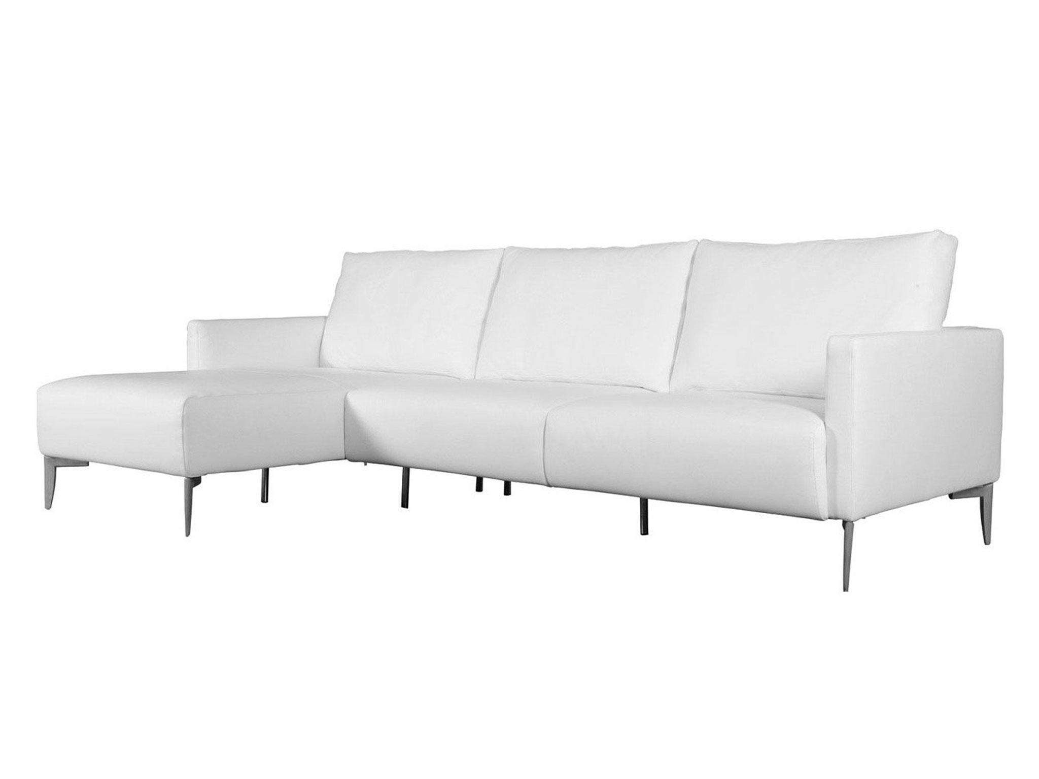 A luxury sofa inspired by italian design amalfi has leather upholstery in seven colour varieties and matt chrome feet the seat and back cushions are