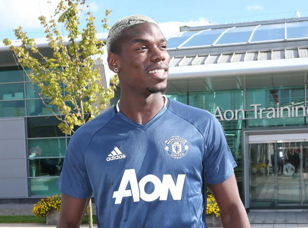 Paul Pogba during his first training session back at Manchester United