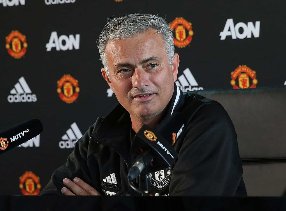 Manchester United manager Jose Mourinho speaks to the media