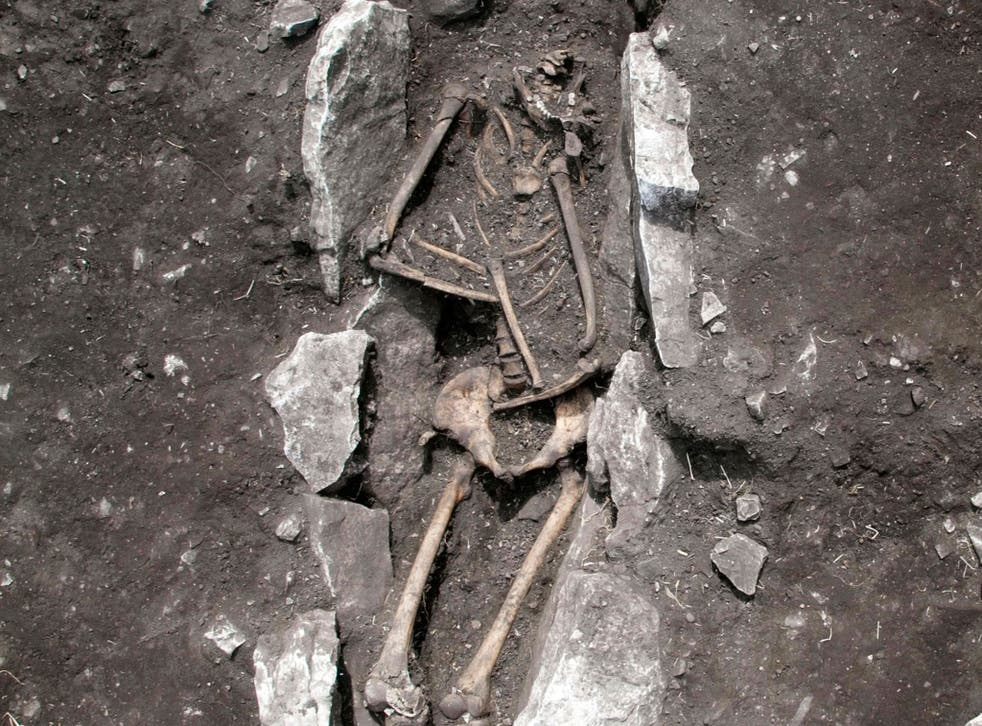 The skeleton of a teenager excavated at Mount Lykaion in the southern Peloponnese region of Greece, from the 11th century BC