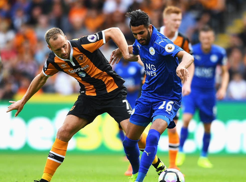 David Meyler and Riyad Mahrez battle for the ball during Leicester's defeat by Hull City