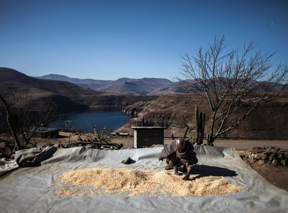 Mohlakoana Molise, 65, sorts through his last yield for the year in front of the controversial Katse dam on July 13, 2016 in Katse.