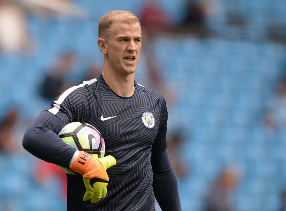 Hart during the warm-up before City's opener against Sunderland