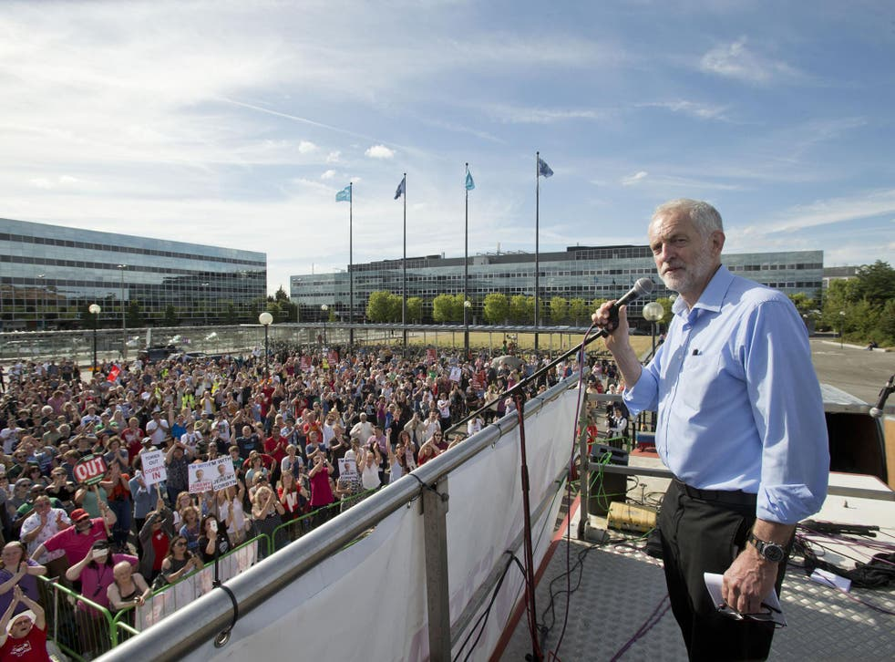 Jeremy Corbyn addresses a crowd in Milton Keynes on Saturday. His deputy Tom Watson has claimed that Trotskyists have been manipulating young Labour Party members