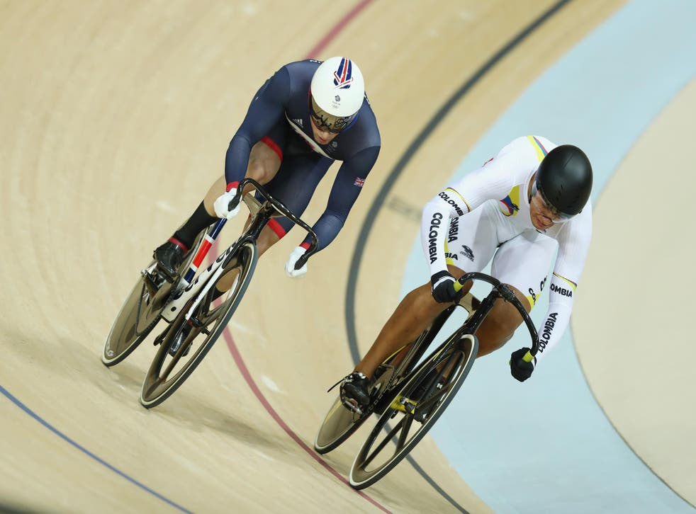 Jason Kenny in action in the men's sprint semi-final