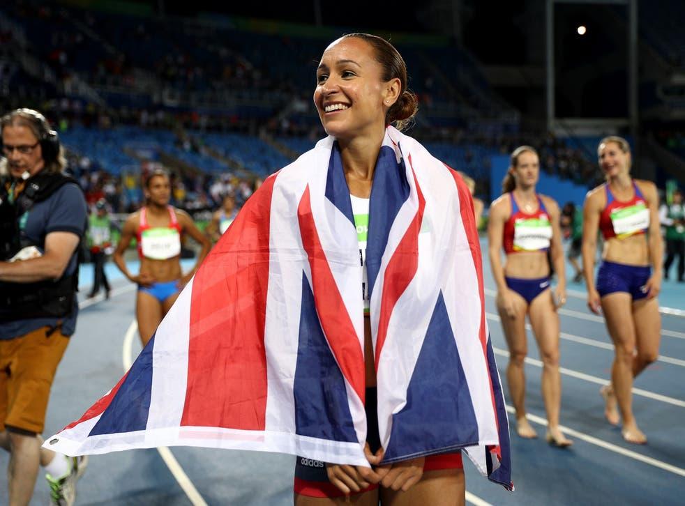 Jessica Ennis-Hill celebrates her silver medal in the women's heptathlon