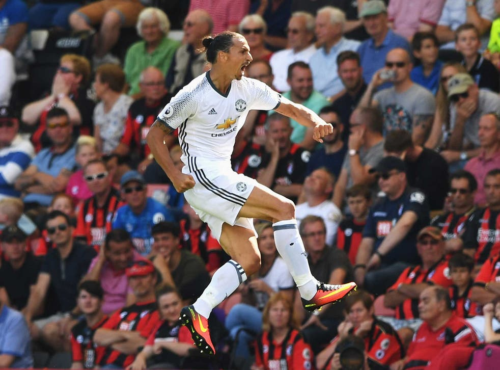 Zlatan Ibrahimovic celebrates his first Premier League goal for Manchester United
