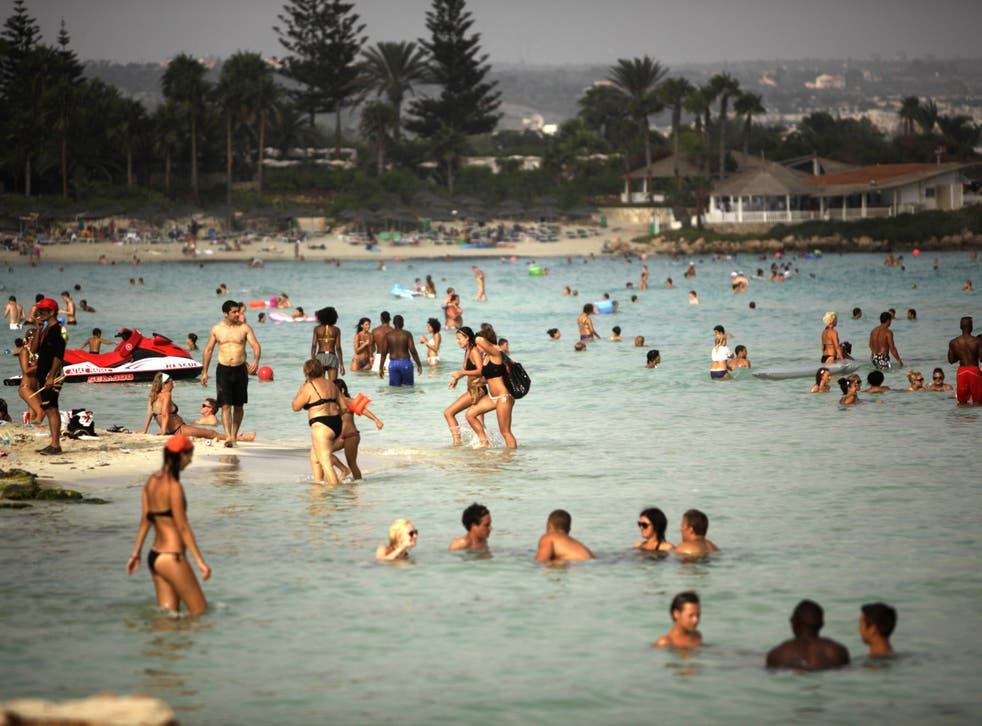 The Mediterranean coastal resort of Ayia Napa on the southeast coast of Cyprus