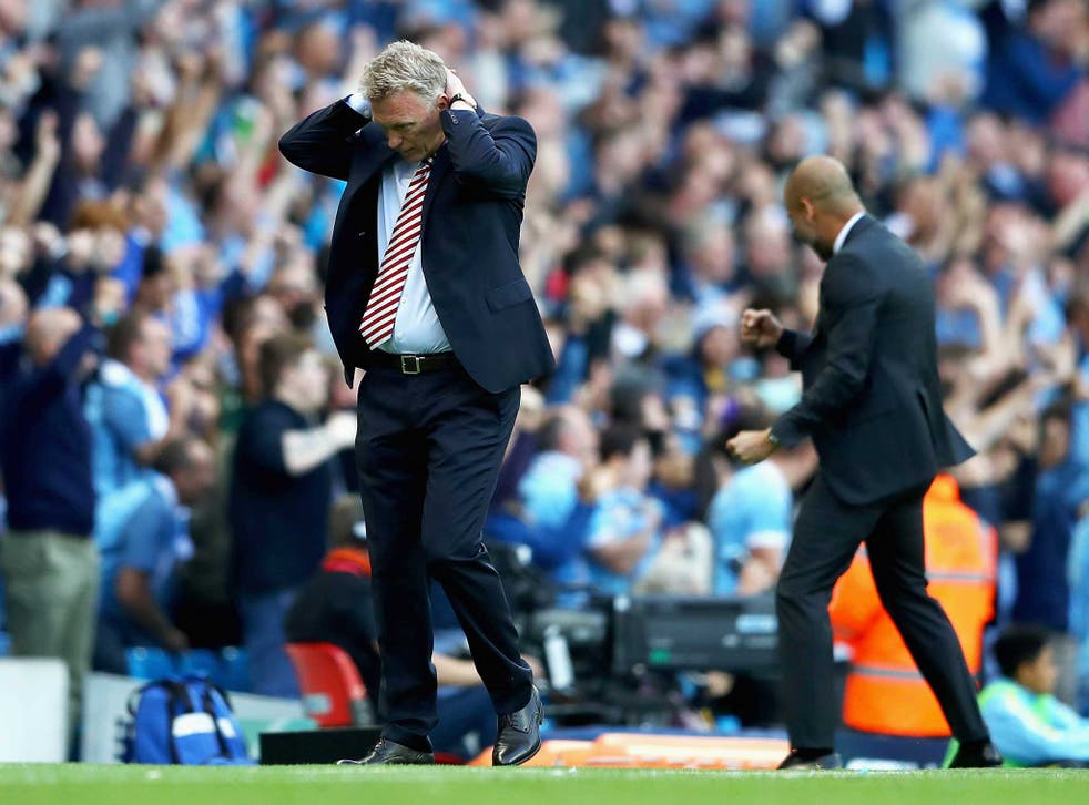 David Moyes recoils after Manchester City's late winner against Sunderland