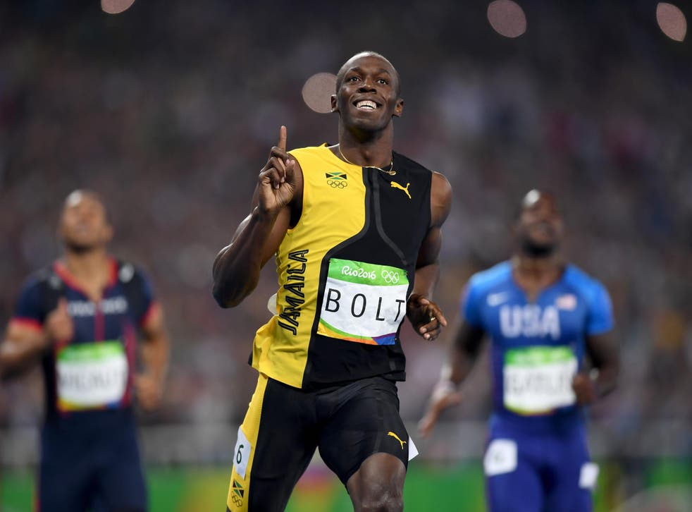 Usain Bolt of Jamaica wins the Men's 100m Final on Day 9 of the Rio 2016 Olympic Games at the Olympic Stadium