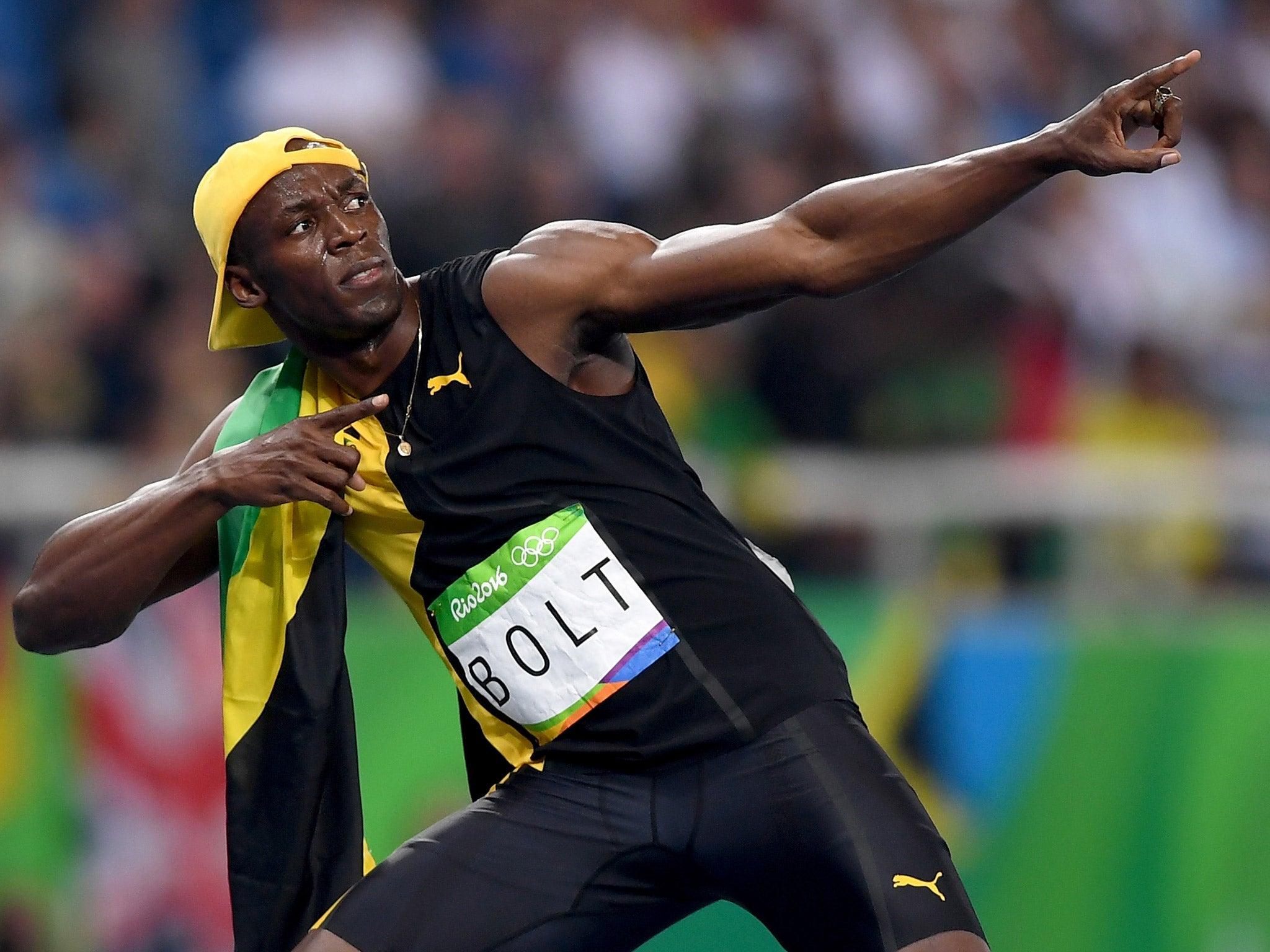 Usain Bolt Celebrates Winning The 100m Olympic Final Getty