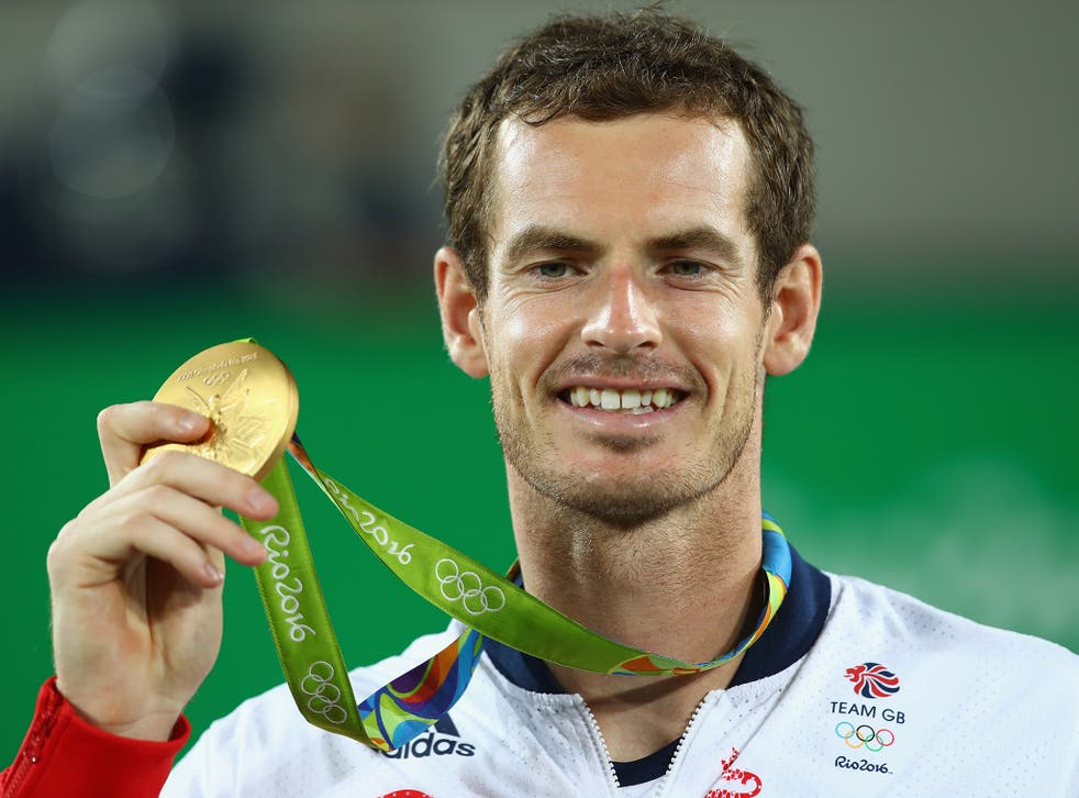 Andy Murray celebrates his second gold Olympic medal