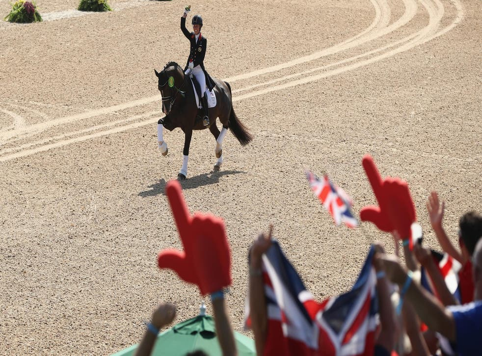 Charlotte Dujardin celebrates with the crowd