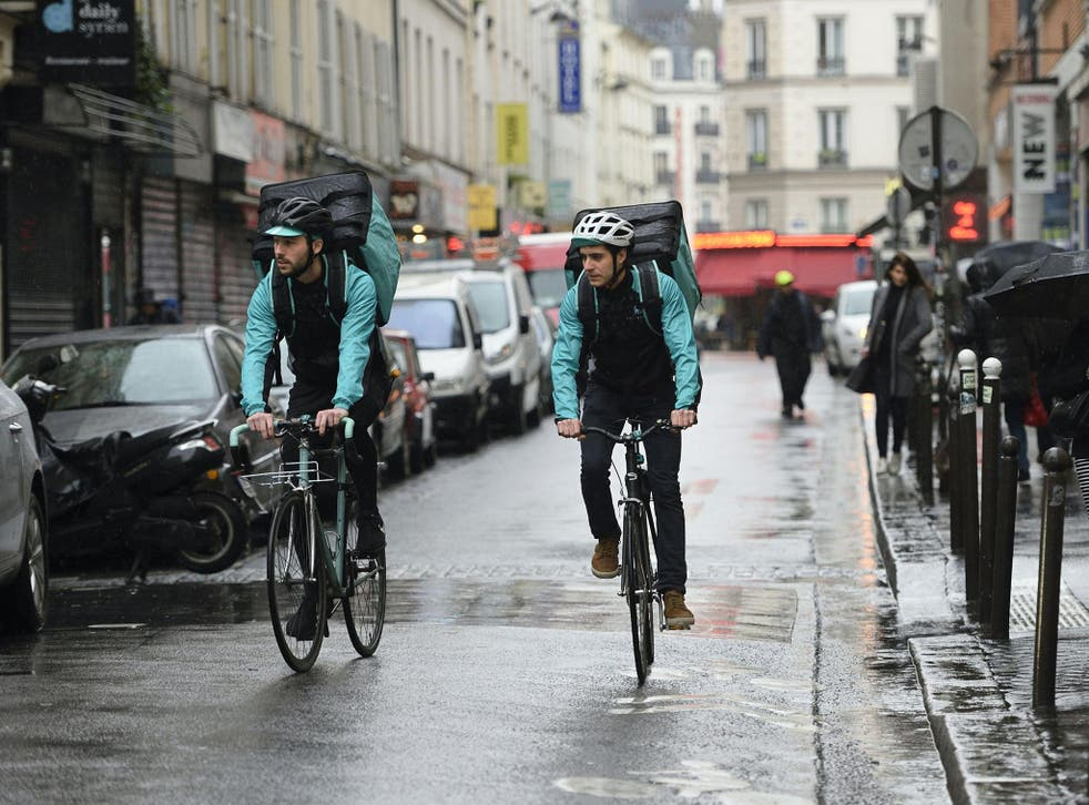 Deliveroo drivers at work in the 'gig economy'