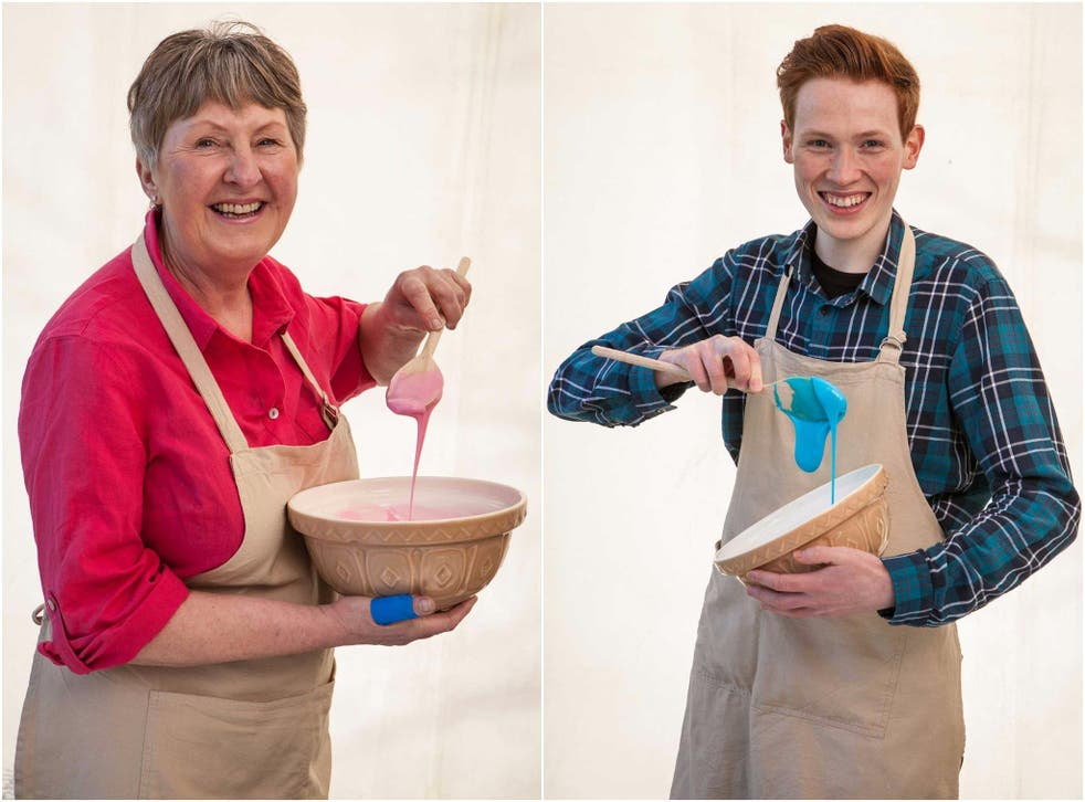 Female bakers were given pink icing to whisk and male bakers blue icing in the new promo shots