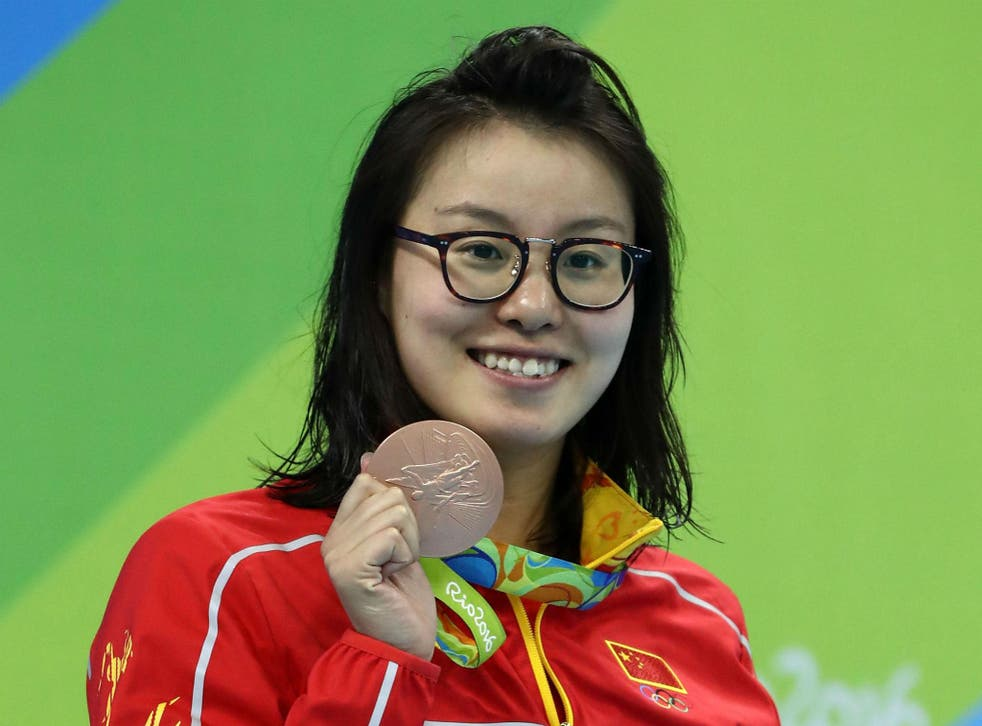 Fu Yuanhui with her bronze medal after the women's 100m backstroke final