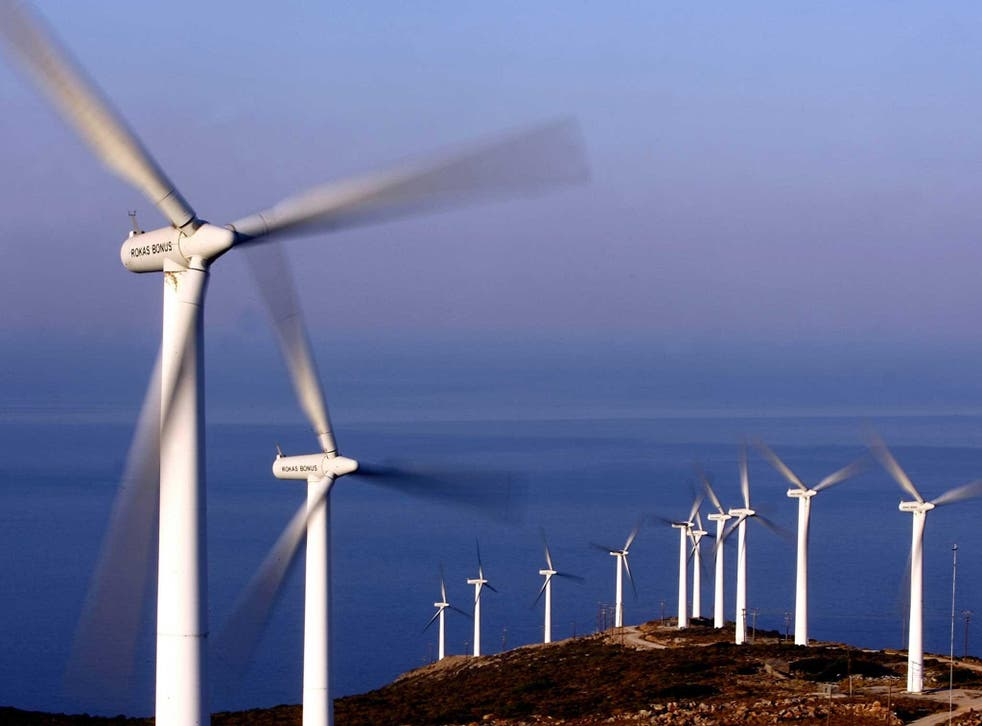 Turbines on a wind farm in Greece, which is attempting to cut its current reliance on brown coal