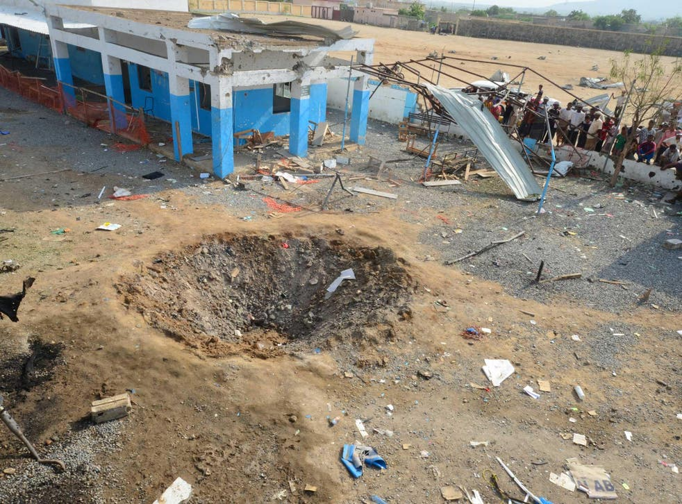 A crater caused by a Saudi-led air strike in August that hit a hospital yard in Hajjah province