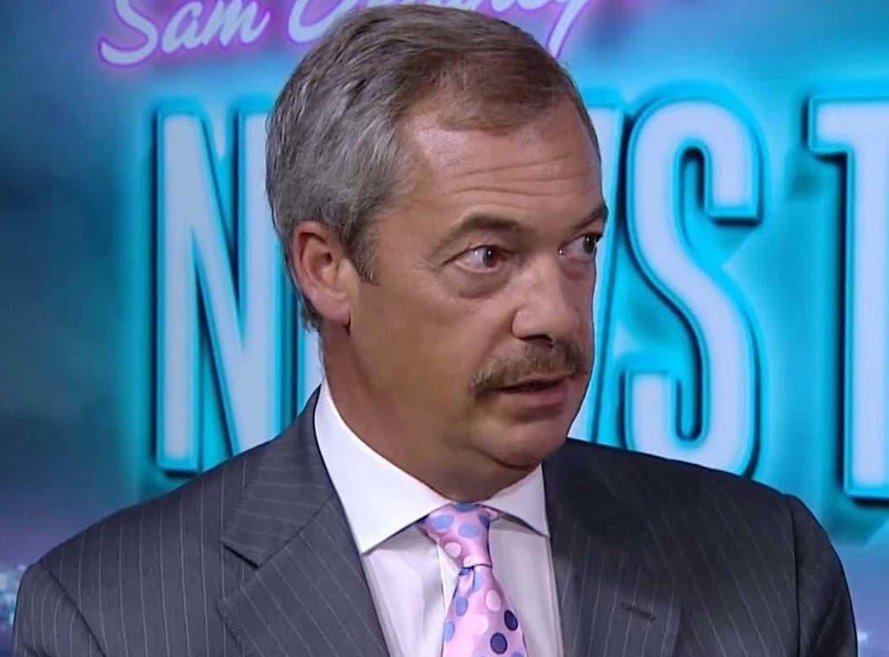 Nigel Farage appearing on Sam Delaney's News Thing on RT UK