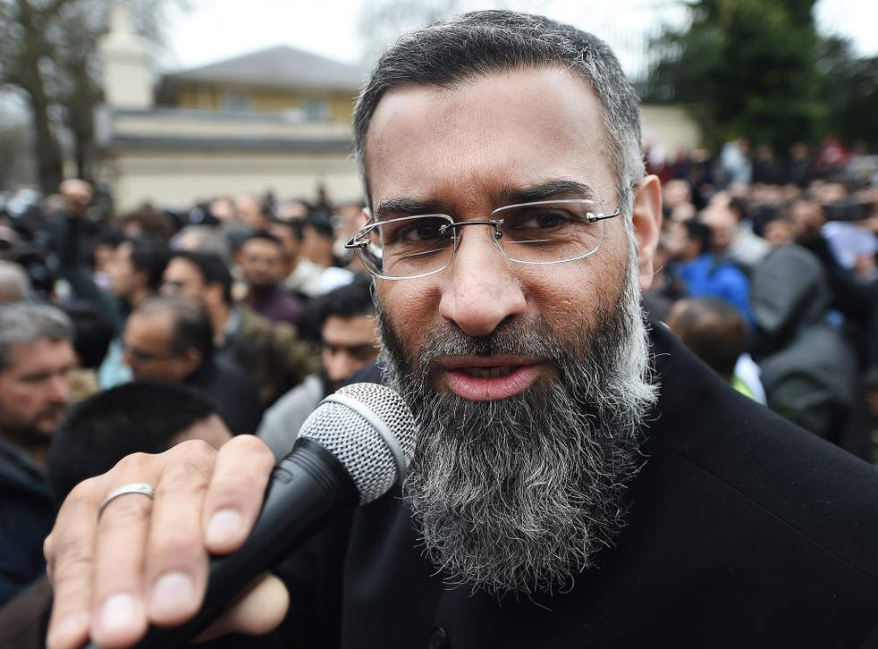 Anjem Choudary during a rally outside Regents Park mosque in London