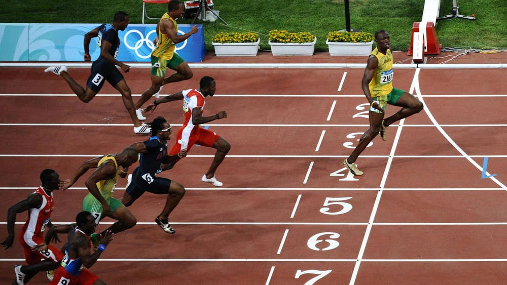 Beijing 2008 100m final (9.69 seconds, 2008 Beijing Olympics)
