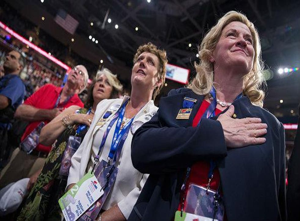 Ms Long (right) pledging her allegiance to Donald Trump at the Republican convention