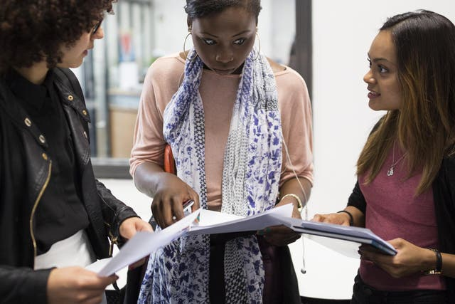 Sixth formers receive their A-level results at Stoke Newington School. Over 300,000 teens are getting their results today as Ucas confirms record number of students have been accepted by UK universities