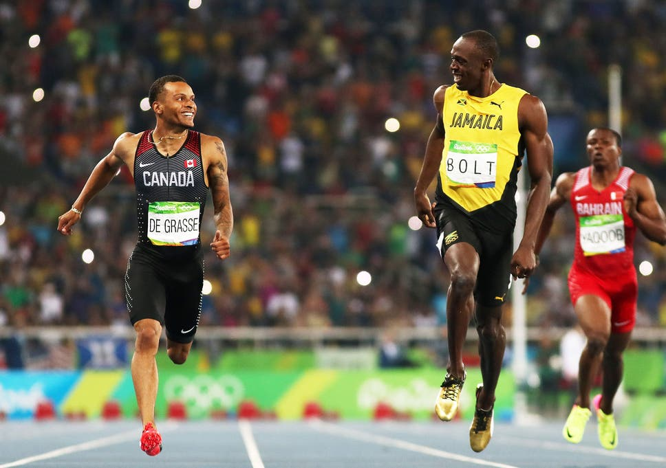 Usain Bolt And Andre De Grasse Share A Joke In The Mens 200m