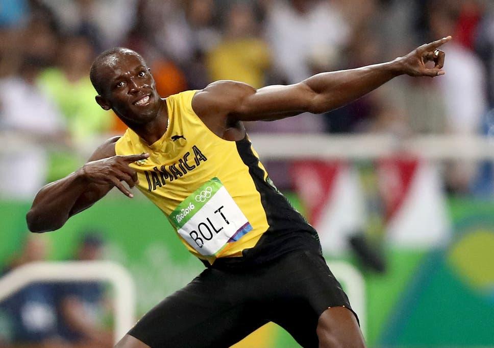 Bolt Celebrates In His Trademark Lightning Stance