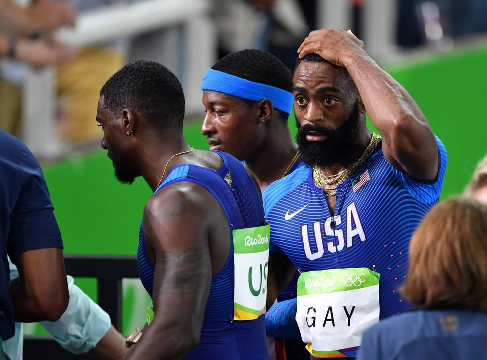 Tyson Gay was left dejected by the USA's disqualification from the men's 4x100m relay