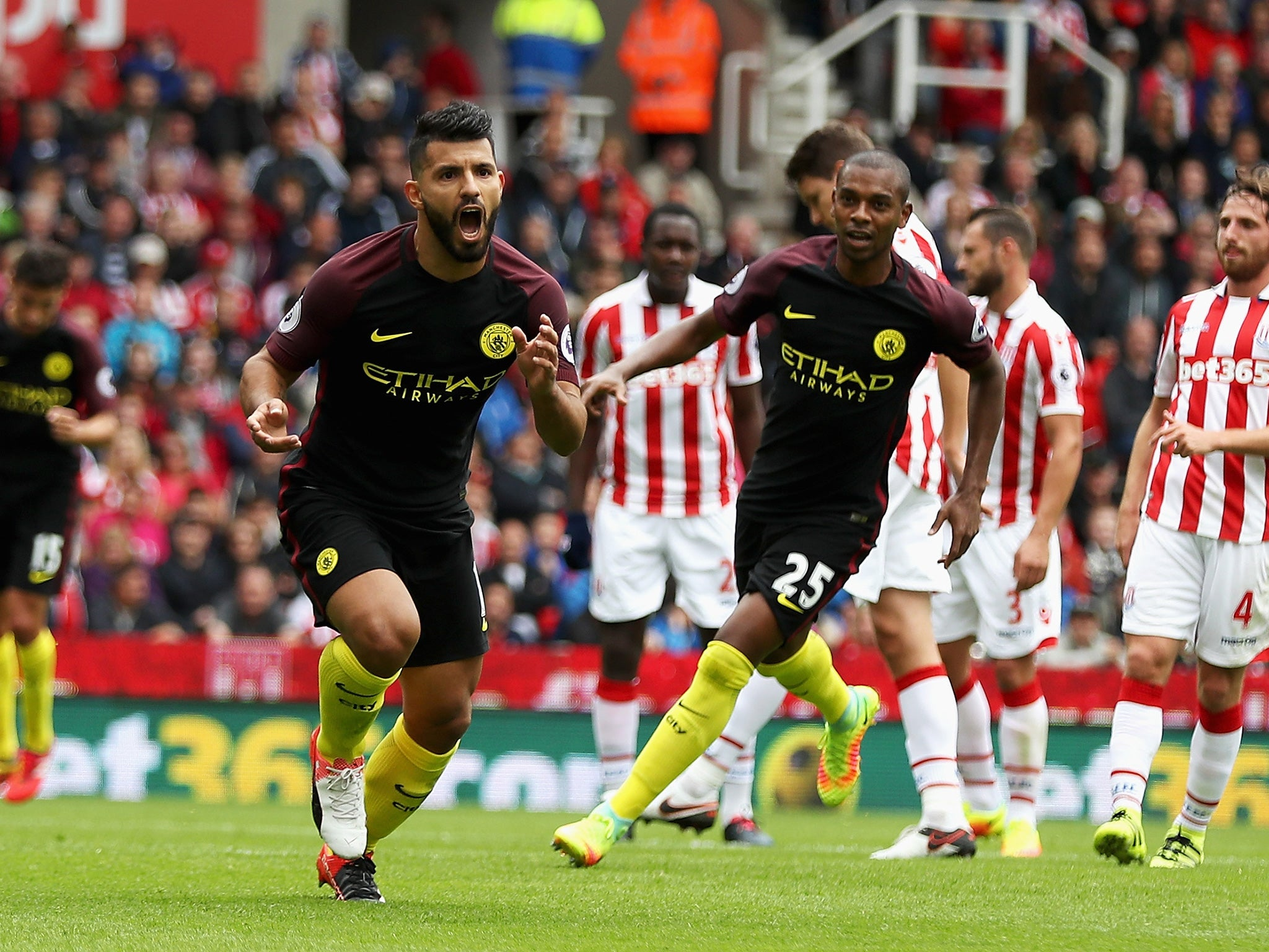Stoke Vs Manchester City Match Report Sergio Aguero And Nolito Bag Braces In Game Of Controversial Penalty Calls The Independent