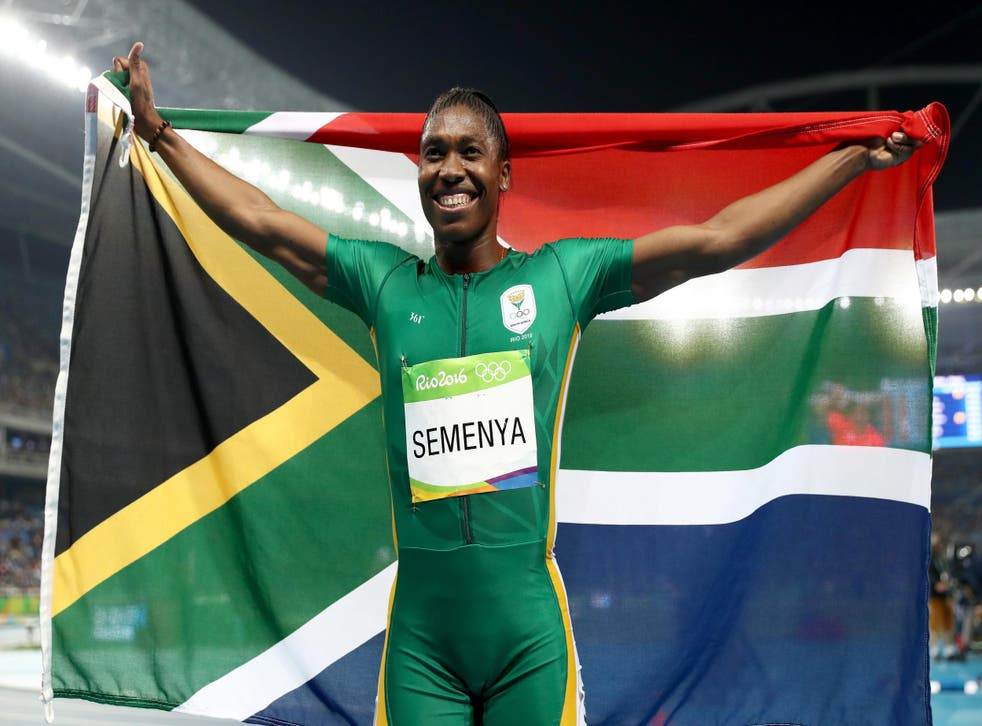 Caster Semenya of South Africa moments after winning gold in the women's 800m final