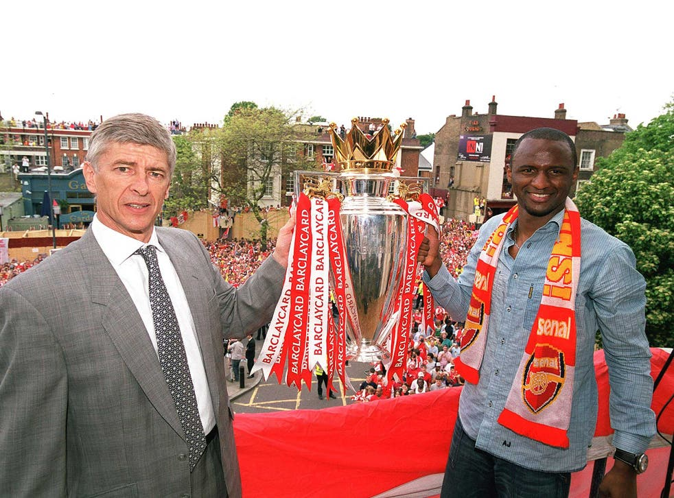 Arsene Wenger and Patrick Vieria won three Premier League titles together in north London