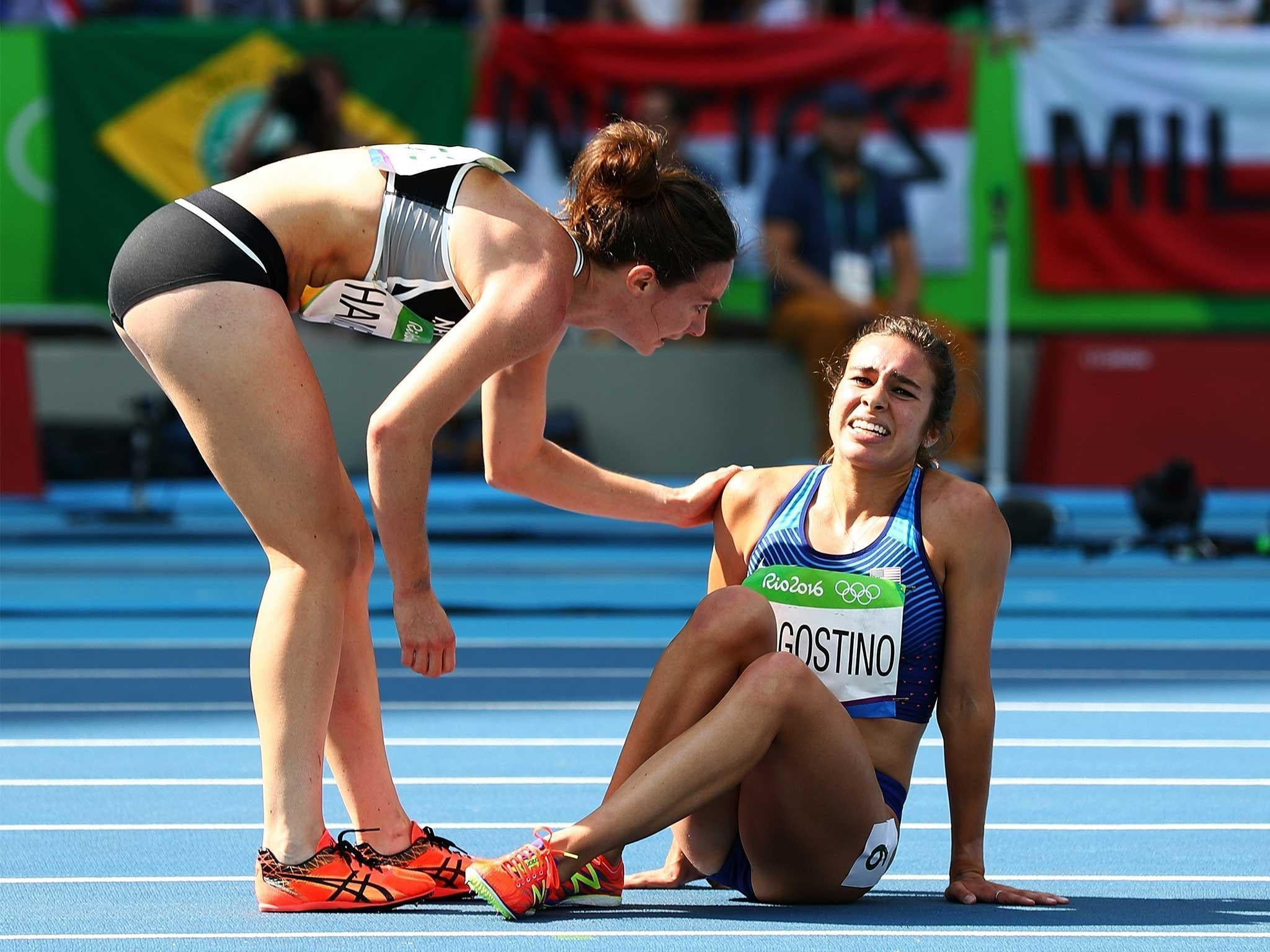 American runner Abbey D'Agostino takes a tumble